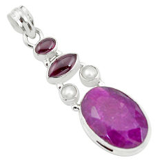 17.67cts natural red ruby garnet 925 sterling silver pendant jewelry p59142