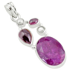 16.92cts natural red ruby garnet 925 sterling silver pendant jewelry p59168
