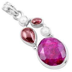 15.85cts natural red ruby garnet 925 sterling silver pendant jewelry p59495