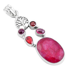 14.94cts natural red ruby garnet 925 sterling silver tree of life pendant p38969