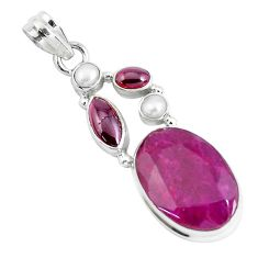 17.69cts natural red ruby garnet pearl 925 sterling silver pendant p49394