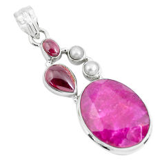 20.27cts natural red ruby garnet pearl 925 sterling silver pendant p49403
