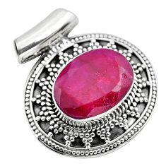 11.04cts natural red ruby oval 925 sterling silver pendant jewelry p86680