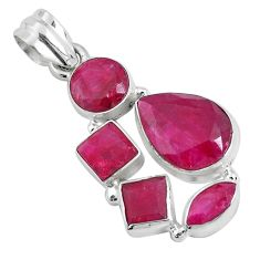 14.61cts natural red ruby pear 925 sterling silver pendant jewelry p34002