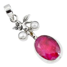 14.99cts natural red ruby pearl 925 silver angel wings fairy pendant p56802