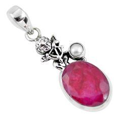 13.79cts natural red ruby pearl 925 silver cupid angel wings pendant p56817