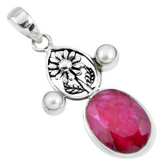 14.45cts natural red ruby pearl 925 sterling silver flower pendant p56801