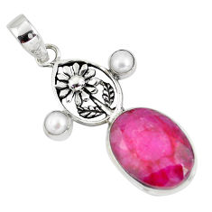 14.20cts natural red ruby pearl 925 sterling silver flower pendant p56816
