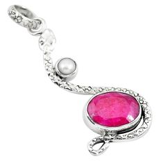 7.12cts natural red ruby pearl 925 sterling silver snake pendant jewelry p49102