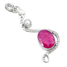 7.40cts natural red ruby pearl 925 sterling silver snake pendant jewelry p49103