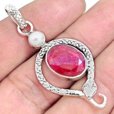 7.66cts natural red ruby pearl 925 sterling silver snake pendant jewelry p49243