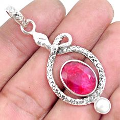 7.83cts natural red ruby pearl 925 sterling silver snake pendant jewelry p49265
