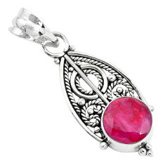 5.17cts natural red ruby round 925 sterling silver pendant jewelry p39451
