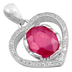 4.67cts natural red ruby topaz 925 sterling silver heart pendant jewelry c4381