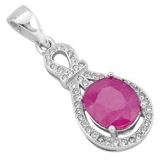 4.87cts natural red ruby topaz 925 sterling silver pendant jewelry a96388