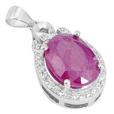 5.84cts natural red ruby topaz 925 sterling silver pendant jewelry a96407