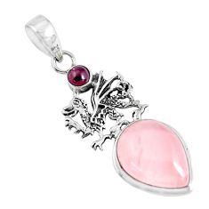 14.21cts natural rose quartz garnet 925 sterling silver dragon pendant p47292