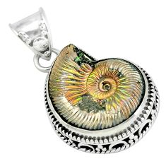 18.51cts natural russian jurassic opal ammonite 925 silver pendant p67301
