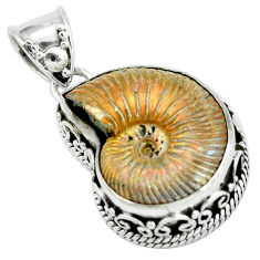 21.91cts natural russian jurassic opal ammonite 925 silver pendant p67310