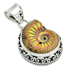 20.27cts natural russian jurassic opal ammonite 925 silver pendant p67320