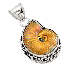 15.82cts natural russian jurassic opal ammonite fancy 925 silver pendant p78119