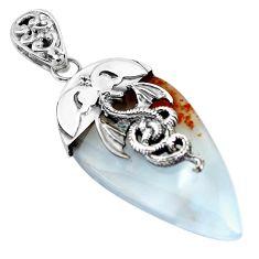 38.50cts natural scenic russian dendritic agate 925 silver dragon pendant p45513