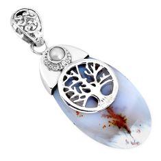 Natural scenic russian dendritic agate 925 silver tree of life pendant p45512