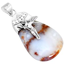 Natural scenic russian dendritic agate silver angel wings fairy pendant p45518