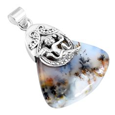 Natural scenic russian dendritic agate silver cupid angel wings pendant p45515