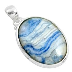 22.59cts natural scolecite high vibration crystal 925 silver pendant p40609
