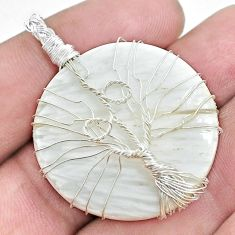 Natural scolecite high vibration crystal 925 silver tree of life pendant p48562
