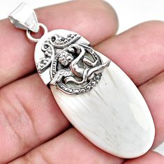 Natural scolecite high vibration crystal silver cupid angel wings pendant p45401