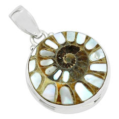 22.59cts natural shell in ammonite 925 sterling silver pendant jewelry p69441