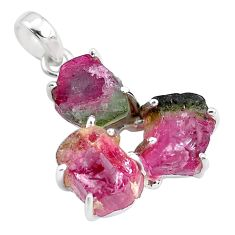 15.05cts natural watermelon tourmaline rough 925 sterling silver pendant p48548