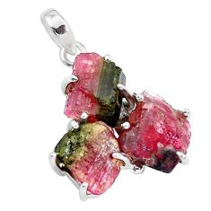 14.01cts natural watermelon tourmaline rough 925 sterling silver pendant p48557