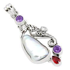 15.76cts natural white biwa pearl amethyst 925 silver seahorse pendant p38921