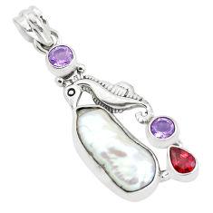 15.16cts natural white biwa pearl amethyst 925 silver seahorse pendant p38931