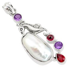 18.99cts natural white biwa pearl amethyst 925 silver seahorse pendant p38940