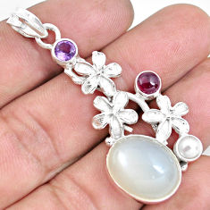 Clearance Sale- 16.09cts natural white ceylon moonstone garnet 925 silver flower pendant d30988