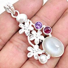 16.51cts natural white ceylon moonstone garnet 925 silver flower pendant d30990