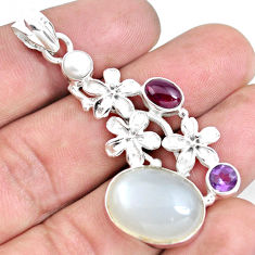 Clearance Sale- 16.09cts natural white ceylon moonstone garnet 925 silver flower pendant d30993