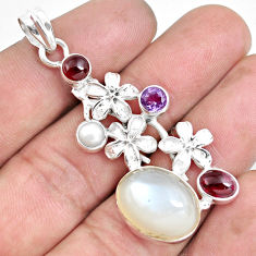 Clearance Sale- 17.16cts natural white ceylon moonstone garnet 925 silver flower pendant d30997