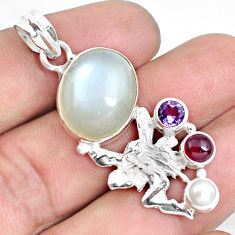 Clearance Sale- 13.79cts natural white ceylon moonstone silver angel wings fairy pendant d30986