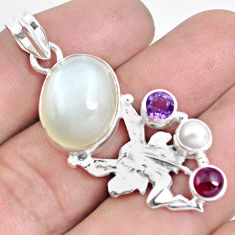 13.79cts natural white ceylon moonstone silver angel wings fairy pendant d30995