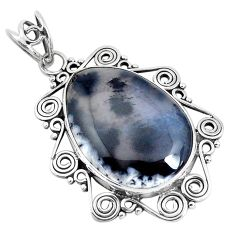 14.47cts natural white dendrite opal (merlinite) 925 silver pendant d31130
