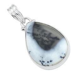 14.23cts natural white dendrite opal (merlinite) 925 silver pendant p59559