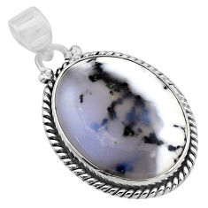 17.07cts natural white dendrite opal (merlinite) 925 silver pendant p85404