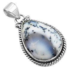 15.65cts natural white dendrite opal (merlinite) 925 silver pendant p85415