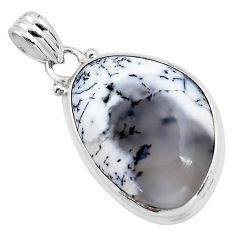 17.22cts natural white dendrite opal (merlinite) 925 silver pendant p85447