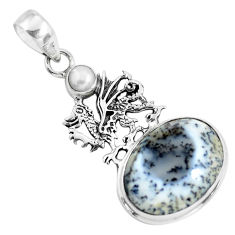 16.92cts natural white dendrite opal (merlinite) silver dragon pendant p55269